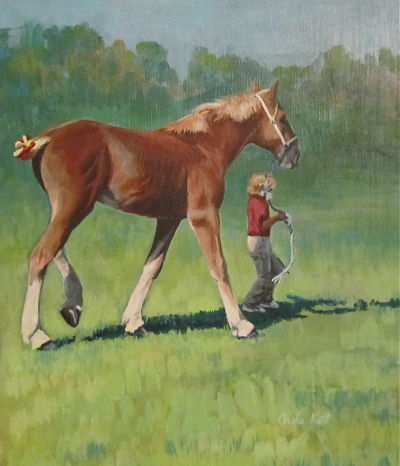 Belgian, horse, yearling, painting